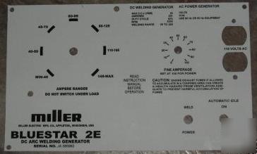 New miller welders bluestar 2E aluminum control plate,