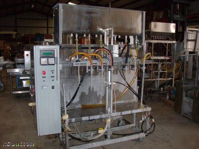 Kiss 6 head inline filler positive displacement filler