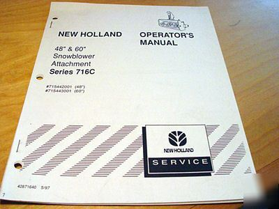 New holland 716C snowblower operator's manual 48