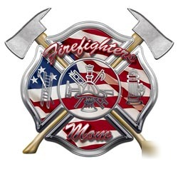 Firefighters mom decal reflective 12