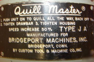 Bridgeport quillmaster qra quill master all angle head