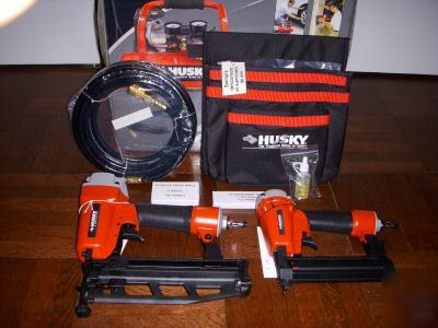 Husky 2 Nailer Nail Gun Air Compressor Combo Kit