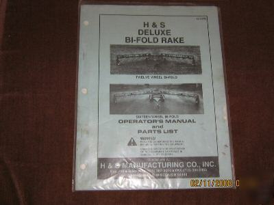 H Amp S Bi Fold 12 Amp 16 Wheel Rake Parts List Amp Manual