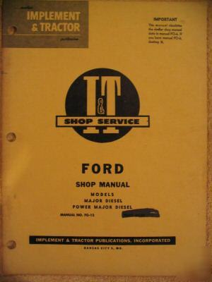 Ford fordson power major diesel tractor fo-12 manual